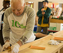 Photo of a man woodworking. Links to Gifts from Retirement Plans